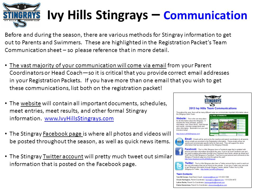 Ivy Hills Stingrays – Communication