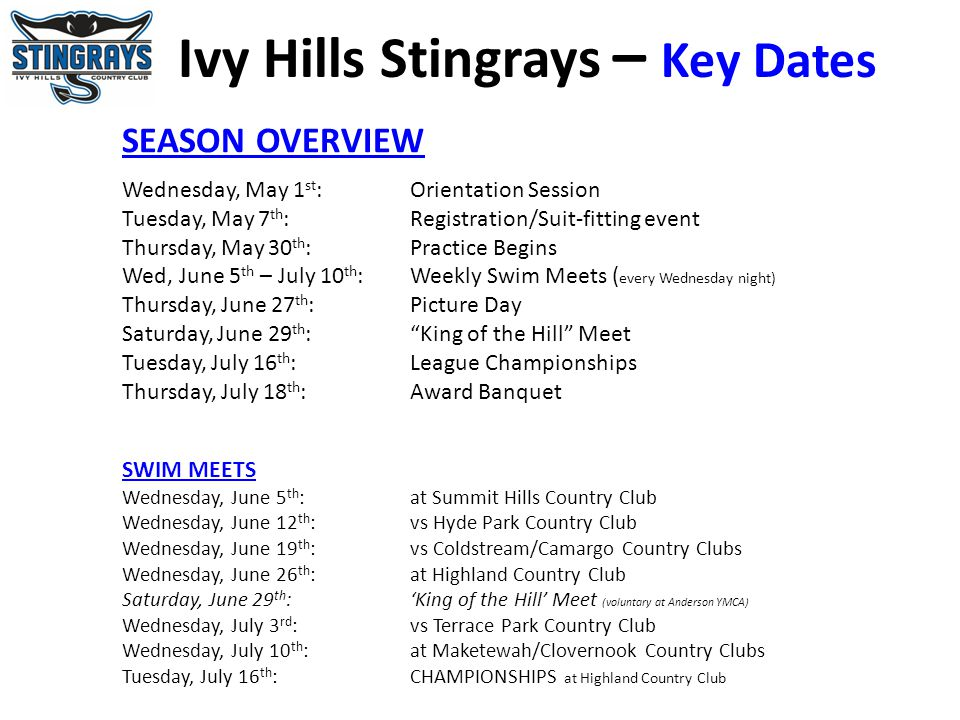 Ivy Hills Stingrays – Key Dates