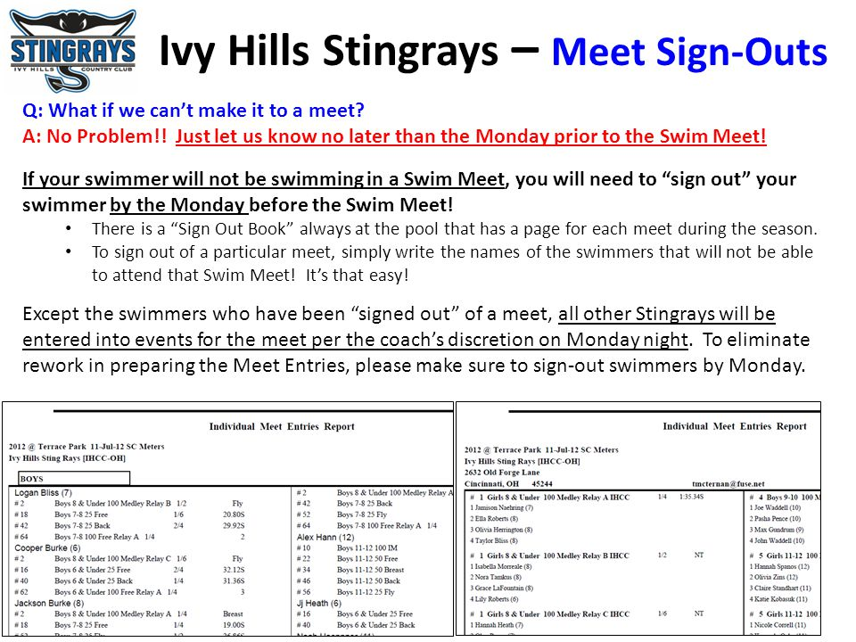 Ivy Hills Stingrays – Meet Sign-Outs