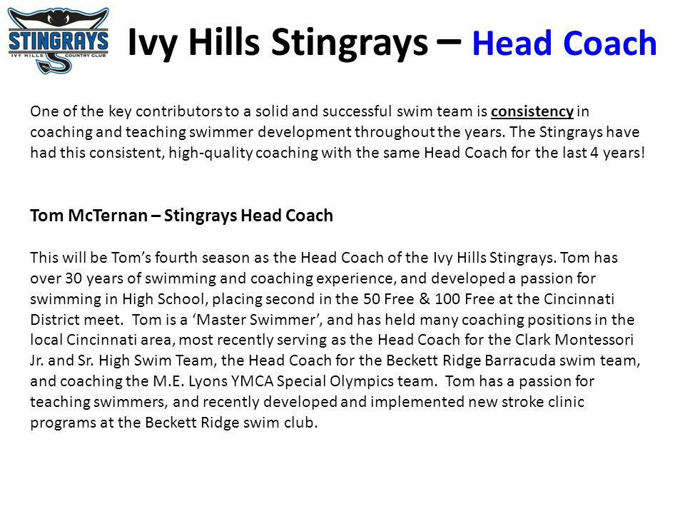 Ivy Hills Stingrays – Head Coach