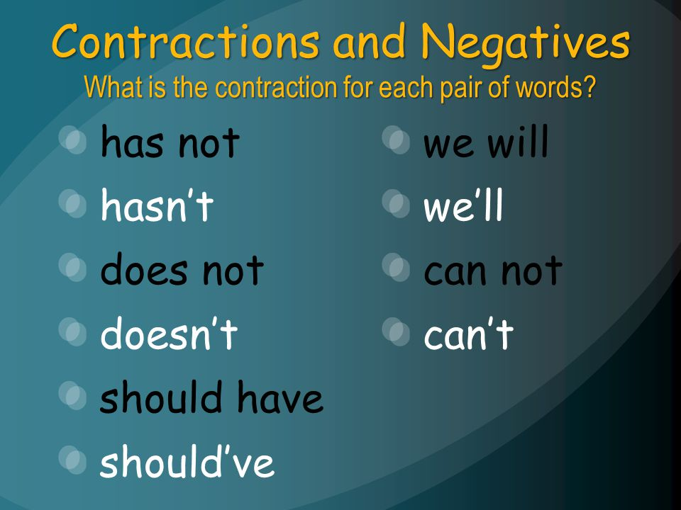 Contractions and Negatives What is the contraction for each pair of words