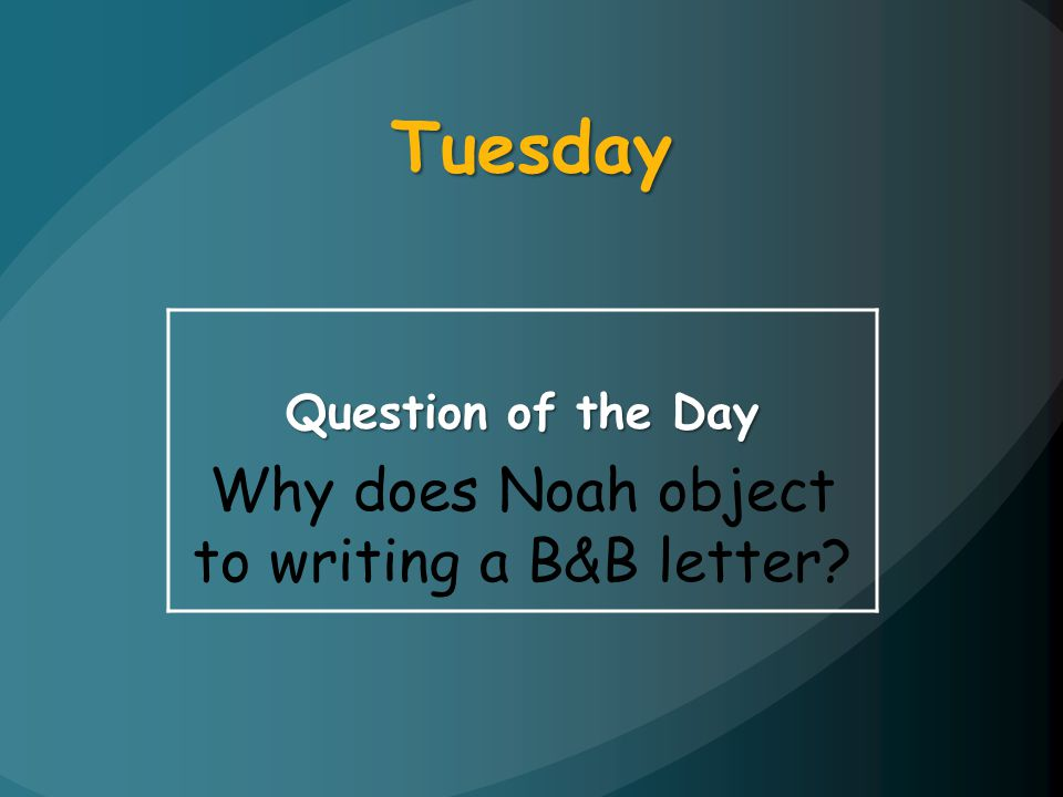 Why does Noah object to writing a B&B letter