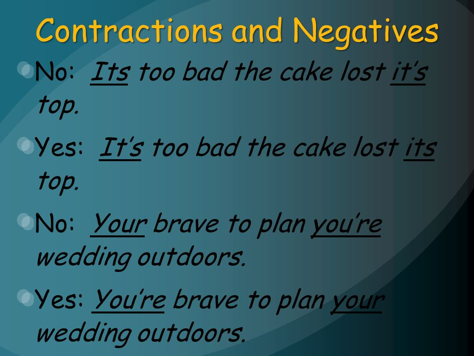 Contractions and Negatives