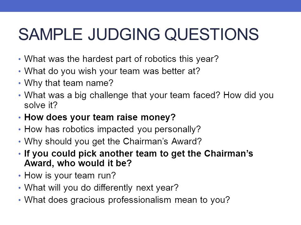 SAMPLE JUDGING QUESTIONS
