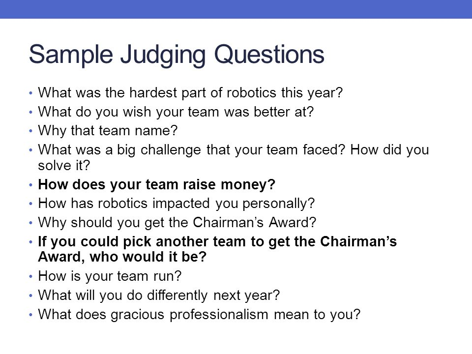 Sample Judging Questions