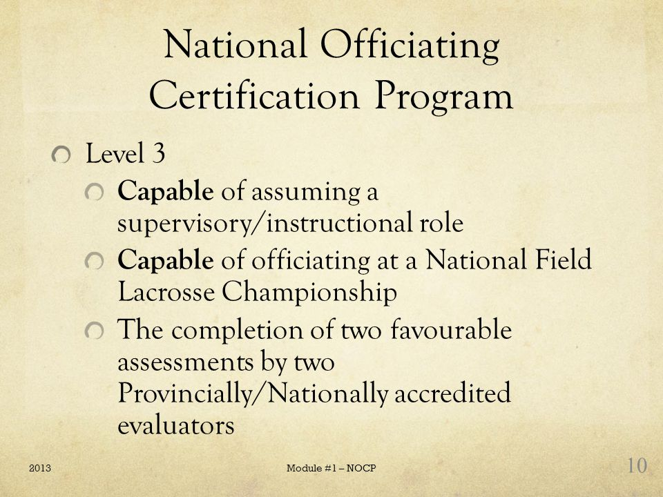 National Officiating Certification Program