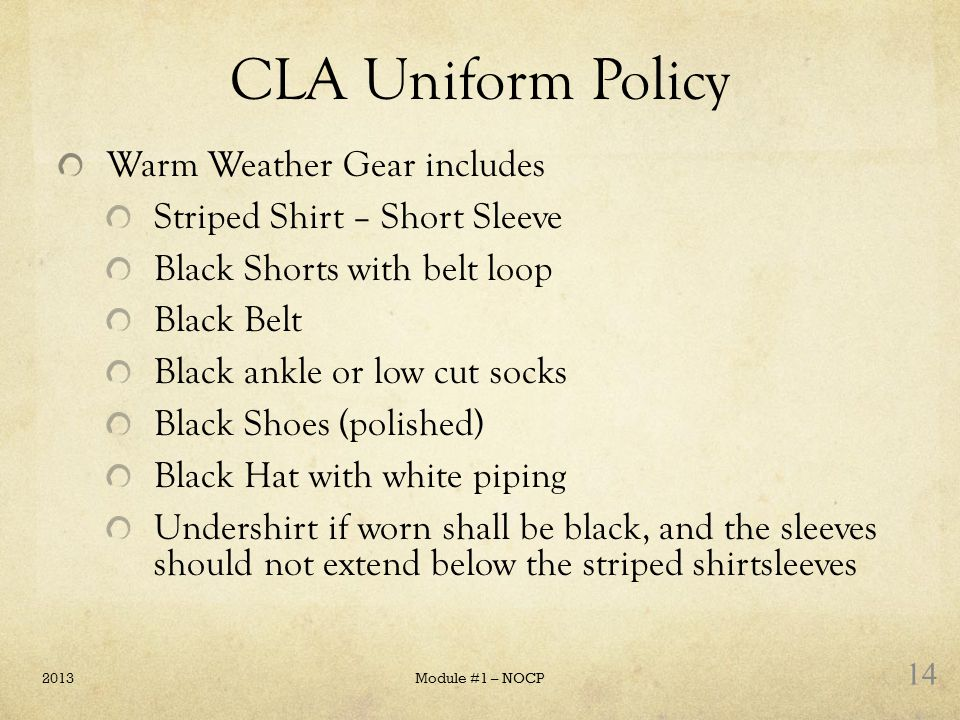 CLA Uniform Policy Warm Weather Gear includes
