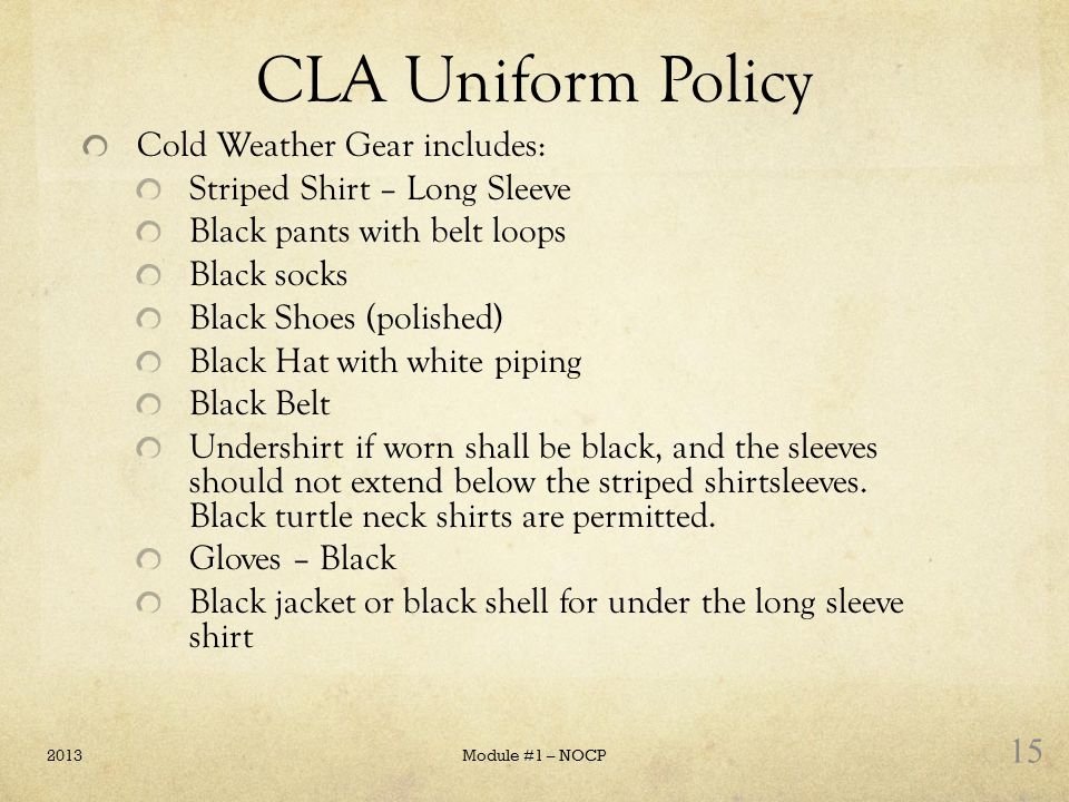 CLA Uniform Policy Cold Weather Gear includes: