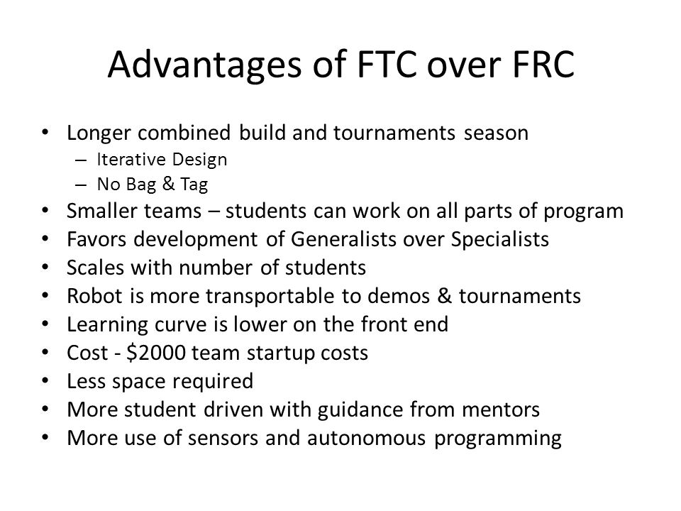 Advantages of FTC over FRC