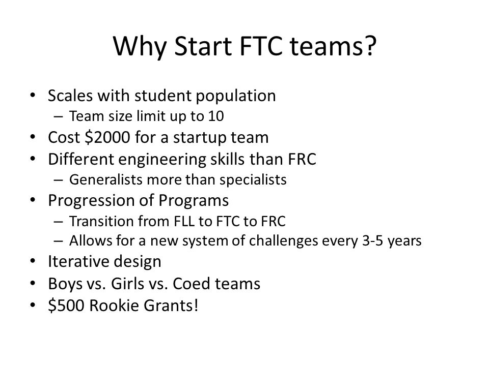 Why Start FTC teams Scales with student population