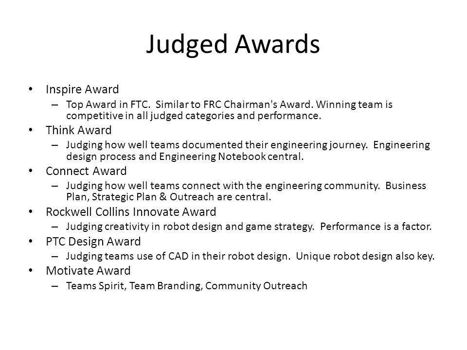 Judged Awards Inspire Award Think Award Connect Award