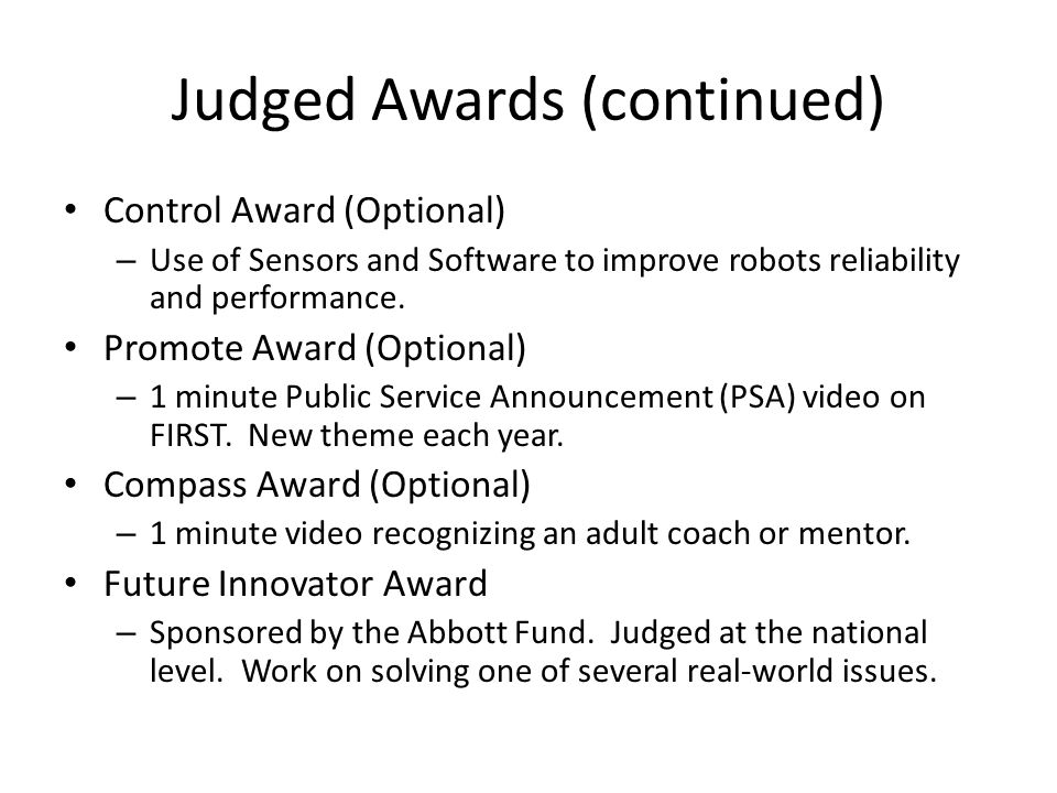 Judged Awards (continued)
