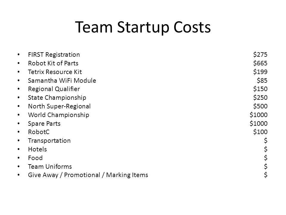 Team Startup Costs FIRST Registration $275 Robot Kit of Parts $665