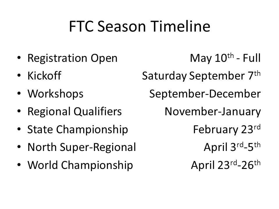 FTC Season Timeline Registration Open May 10th - Full