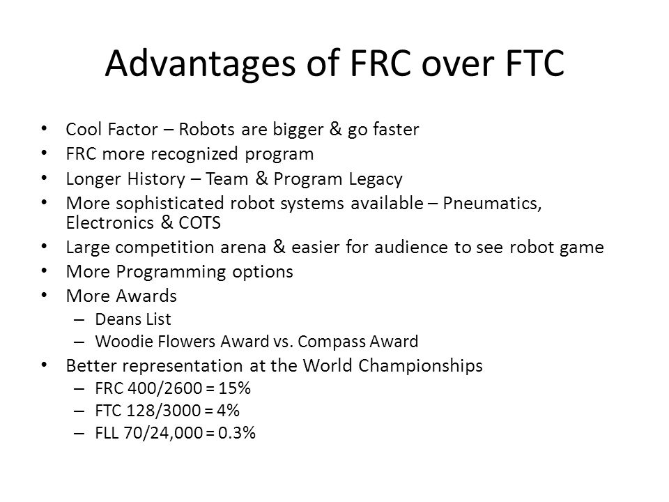 Advantages of FRC over FTC