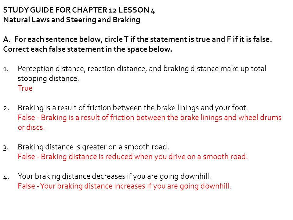 STUDY GUIDE FOR CHAPTER 12 LESSON 4