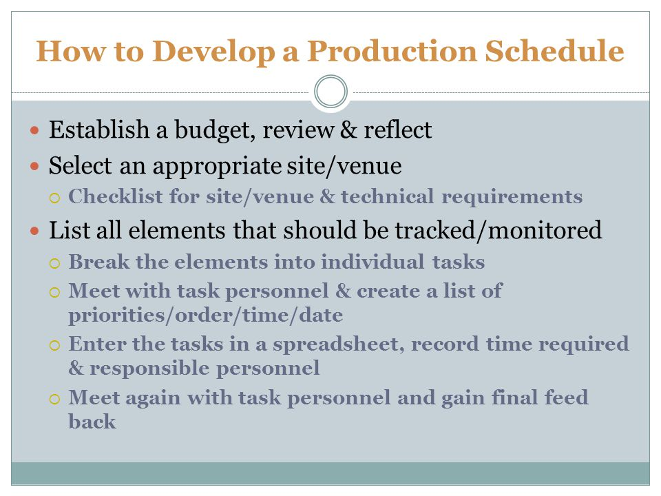 How to Develop a Production Schedule