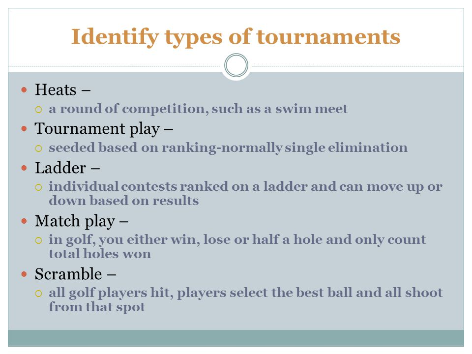 Identify types of tournaments