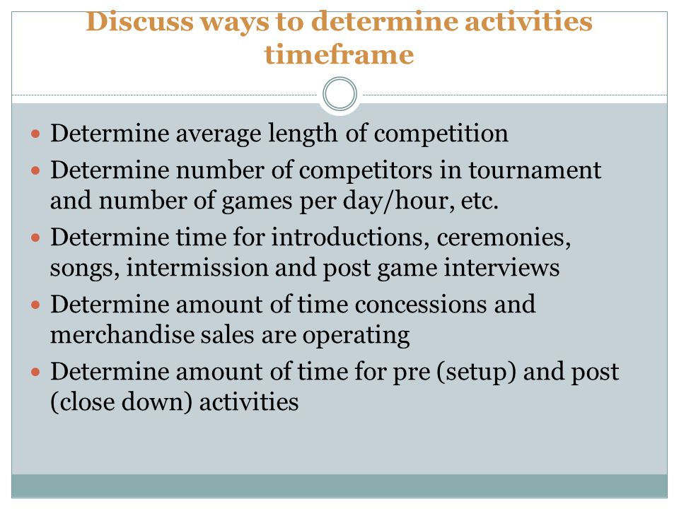 Discuss ways to determine activities timeframe