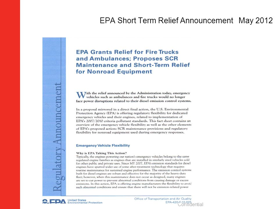 EPA Short Term Relief Announcement May 2012