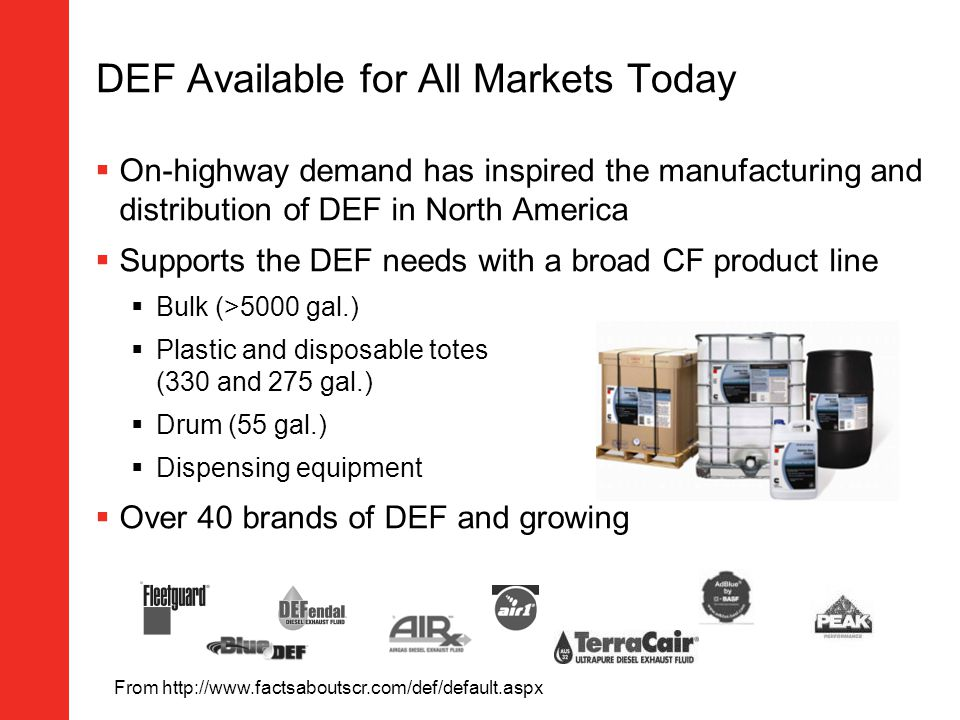 DEF Available for All Markets Today