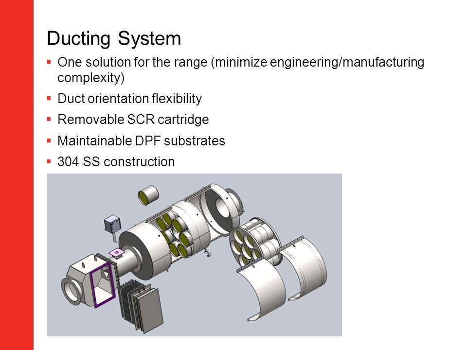Ducting System One solution for the range (minimize engineering/manufacturing complexity) Duct orientation flexibility.