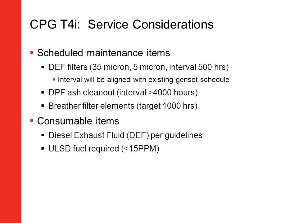 CPG T4i: Service Considerations
