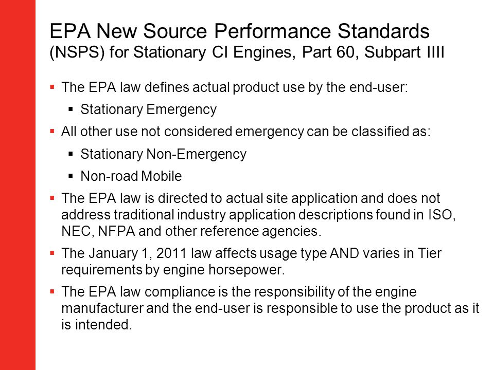 EPA New Source Performance Standards (NSPS) for Stationary CI Engines, Part 60, Subpart IIII