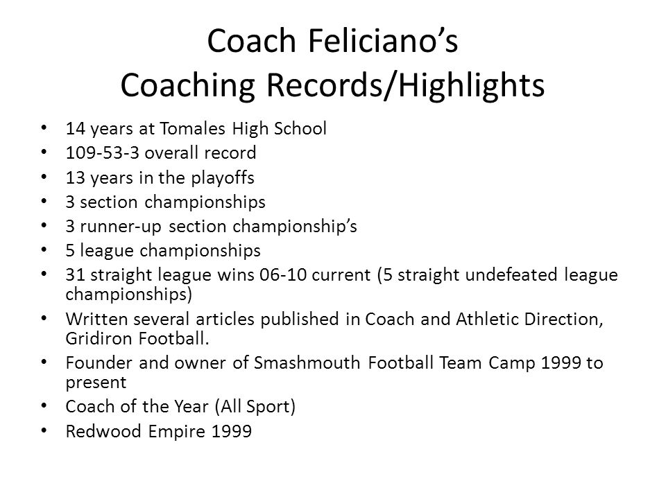 Coach Feliciano's Coaching Records/Highlights