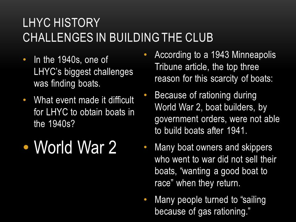 LHYC HISTORY Challenges in building the club