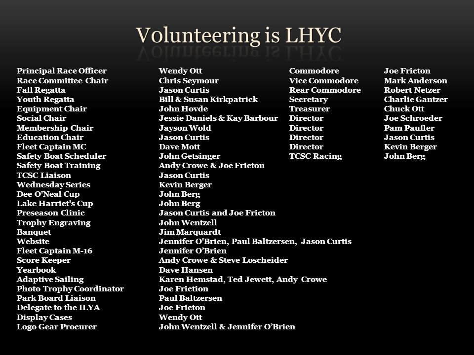 V0lunteering is LHYC Principal Race Officer Wendy Ott