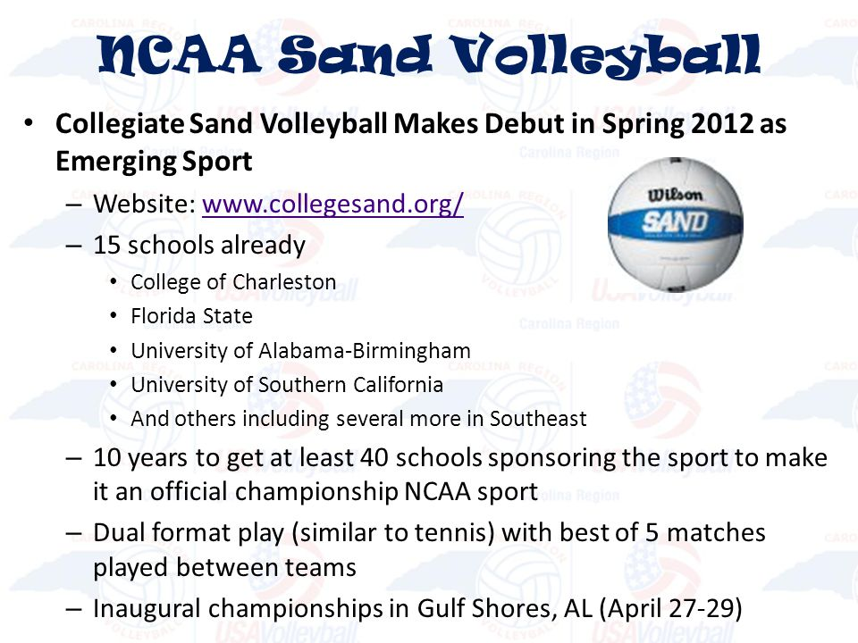 NCAA Sand Volleyball Collegiate Sand Volleyball Makes Debut in Spring 2012 as Emerging Sport. Website: www.collegesand.org/