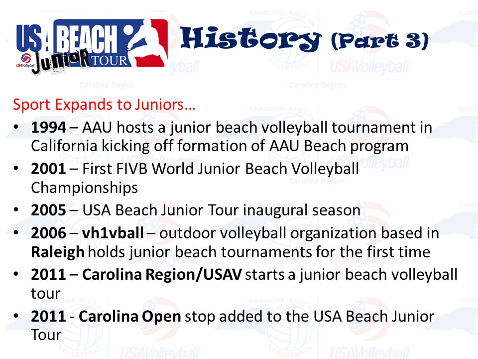History (Part 3) Sport Expands to Juniors…