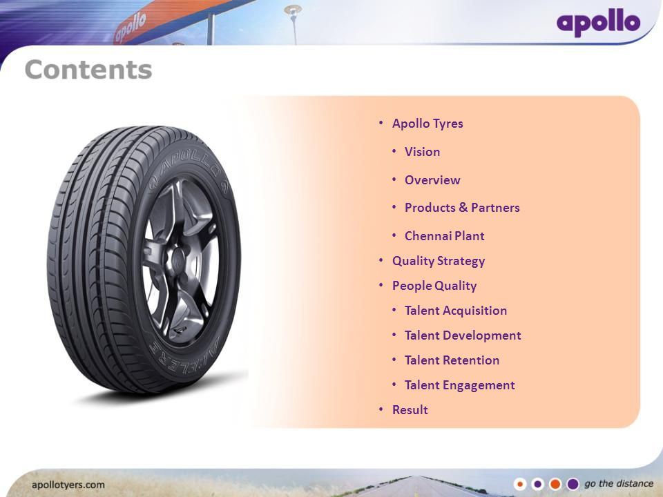 Apollo Tyres Vision. Overview. Products & Partners. Chennai Plant. Quality Strategy. People Quality.