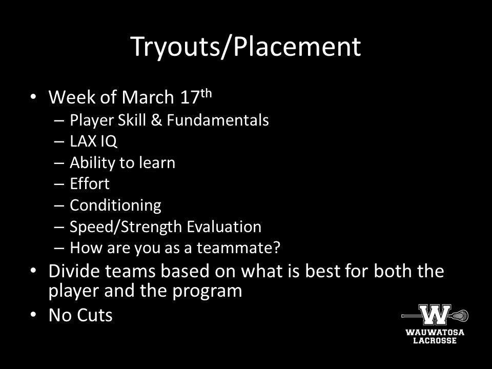 Tryouts/Placement Week of March 17th