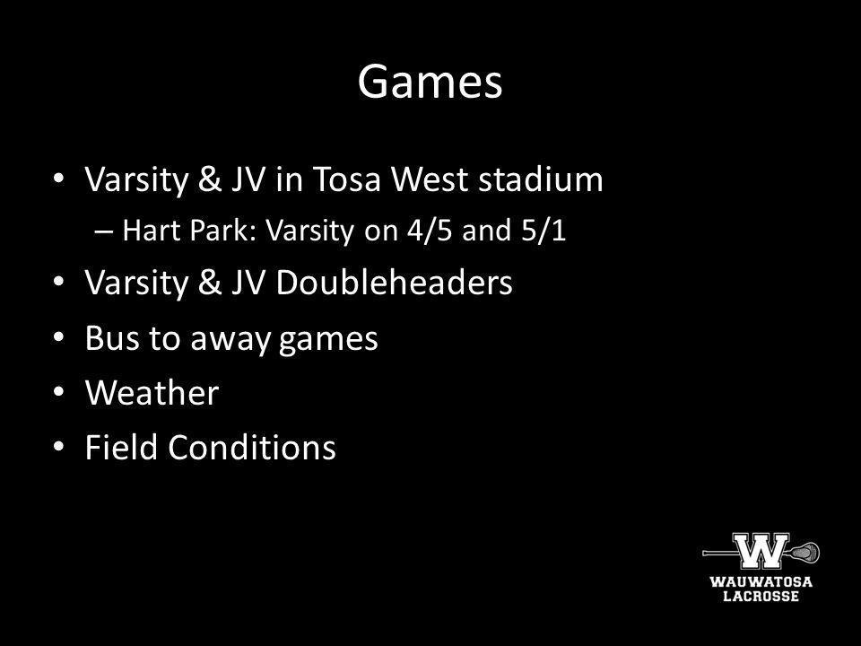 Games Varsity & JV in Tosa West stadium Varsity & JV Doubleheaders