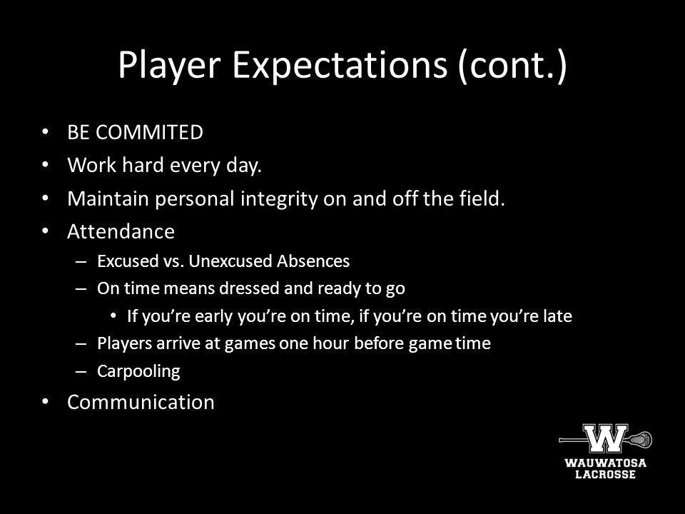 Player Expectations (cont.)