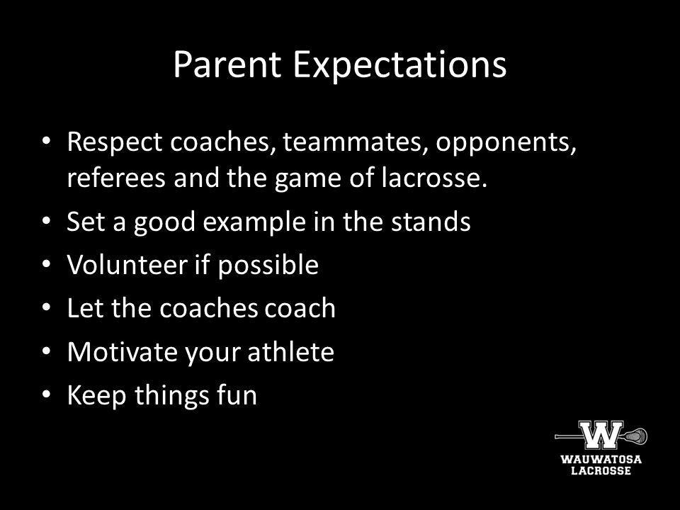Parent Expectations Respect coaches, teammates, opponents, referees and the game of lacrosse. Set a good example in the stands.