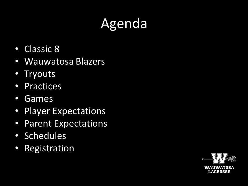 Agenda Classic 8 Wauwatosa Blazers Tryouts Practices Games