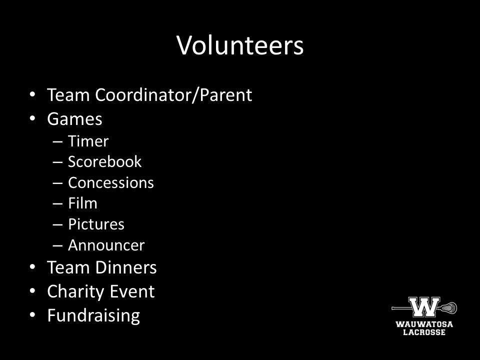 Volunteers Team Coordinator/Parent Games Team Dinners Charity Event