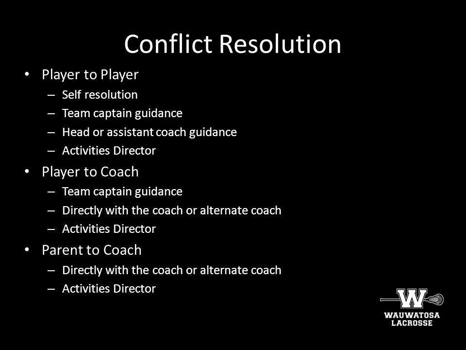 Conflict Resolution Player to Player Player to Coach Parent to Coach