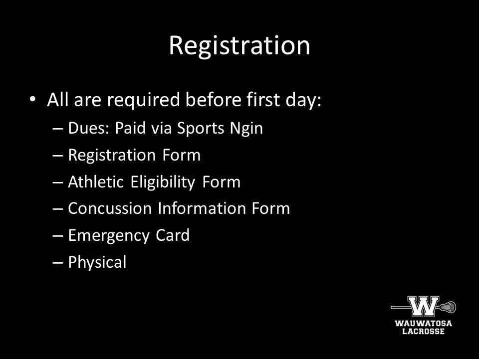 Registration All are required before first day: