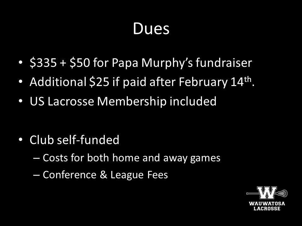 Dues $335 + $50 for Papa Murphy's fundraiser