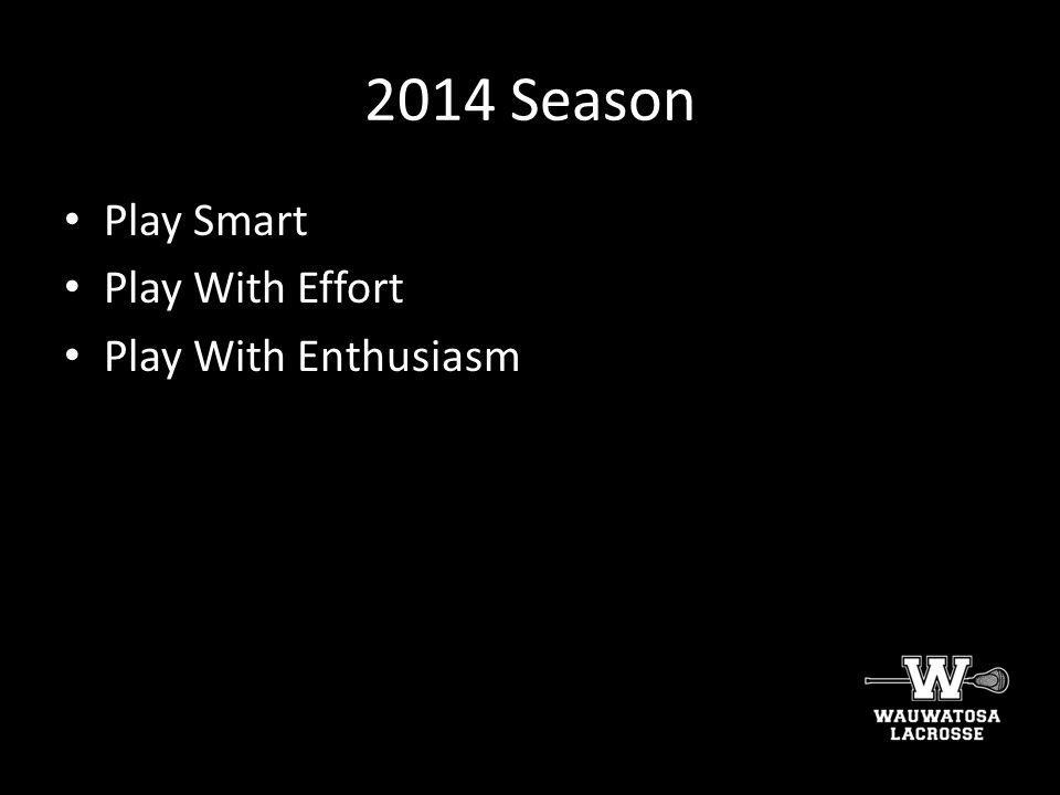 2014 Season Play Smart Play With Effort Play With Enthusiasm