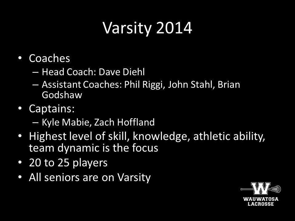 Varsity 2014 Coaches Captains: