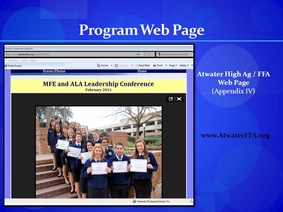 Program Web Page Atwater High Ag / FFA Web Page (Appendix IV)