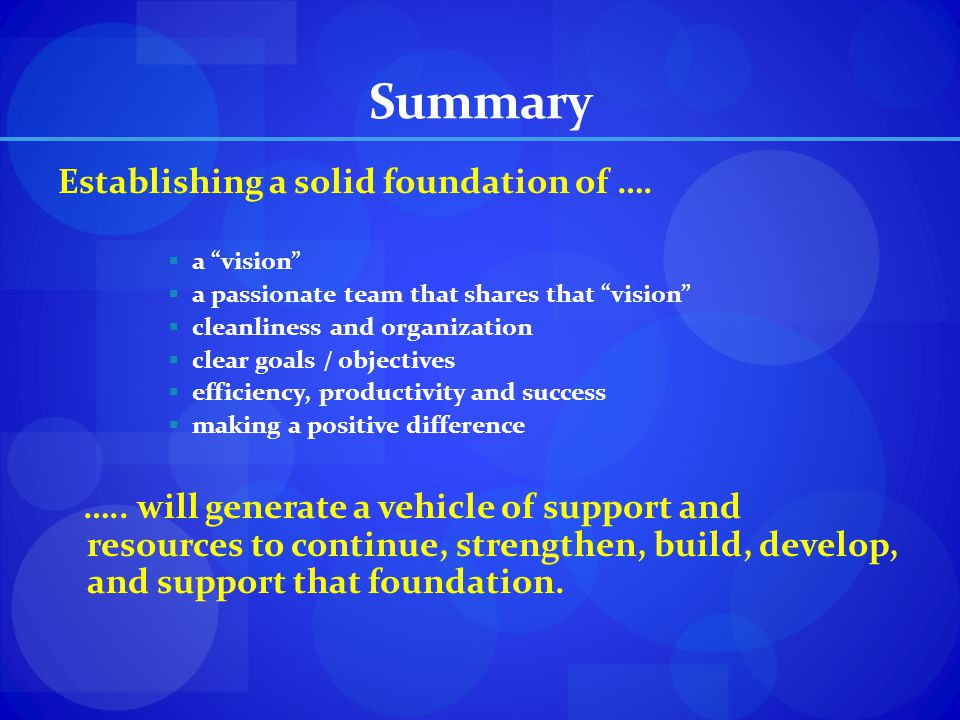 Summary Establishing a solid foundation of ….