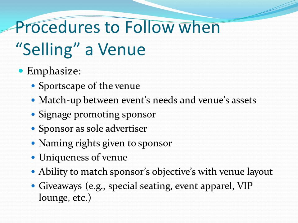 Procedures to Follow when Selling a Venue