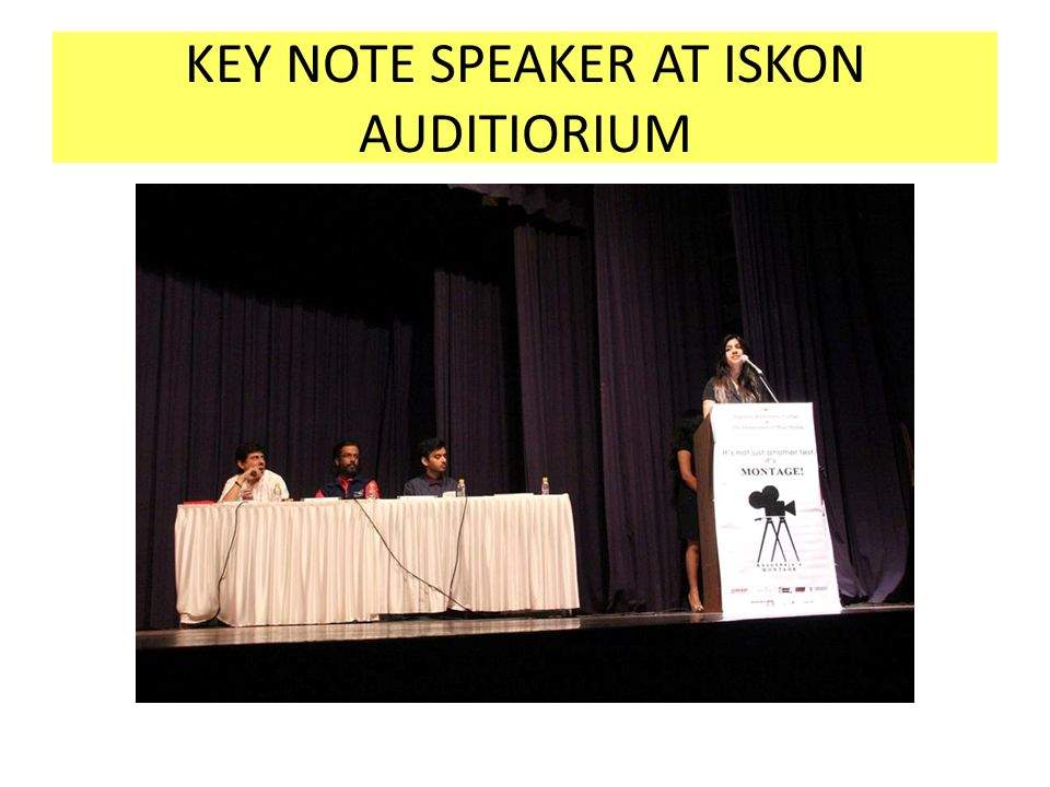 KEY NOTE SPEAKER AT ISKON AUDITIORIUM