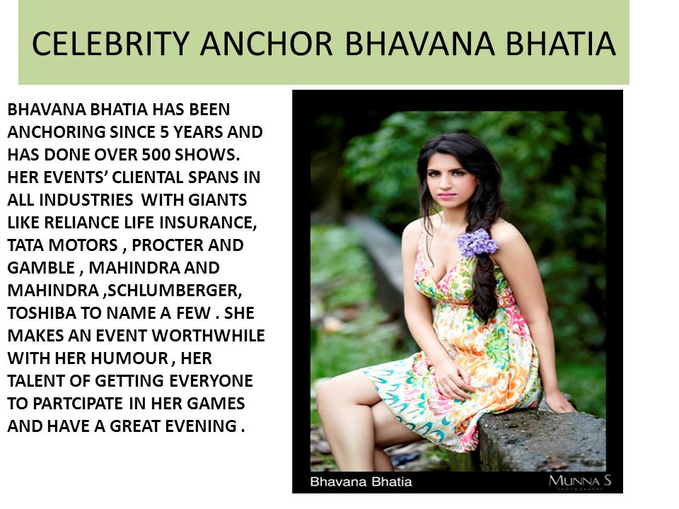 CELEBRITY ANCHOR BHAVANA BHATIA